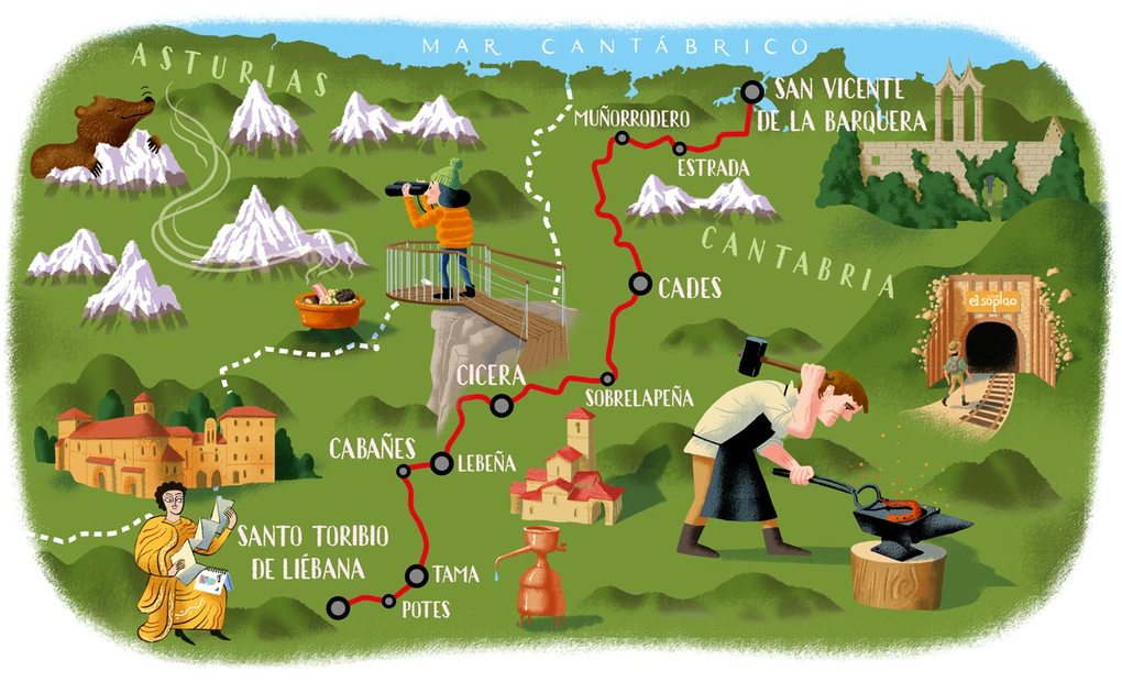 Karta över Camino Lebaniego, Norra Spanien